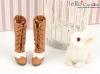 【Mini.07-09】優雅踏步雙色綁帶高跟長靴.Brown╱White