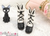 【Mini.24-01】雙色免耳可愛迷你短靴.Black
