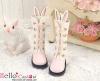 【25-03】B╱P 雙色免耳五孔綁帶中筒靴.Pink