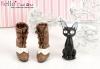 【Mini.26-07】優雅踏步雙色綁帶高跟短靴.Chocolate