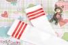 H40.【LT-19】 SD╱DD 大腿襪(學園風) # 白 + 紅條